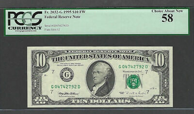 1995 $10 Federal Reserve Note PCGS Choice About New 58 Fort Worth