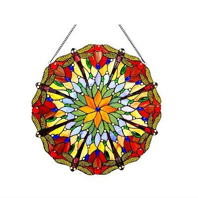 """Stained Glass Chloe Lighting Dragonfly Window Panel 24"""" Diameter Handcrafted New"""
