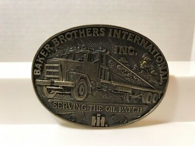 Vintage Truckers Belt Buckle Baker Brothers International Solid Brass Oil Patch