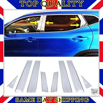 Chrome Door Post Pillar Trim 8 pcs S.STEEL to fits Nissan Qashqai J11 II 2013-up