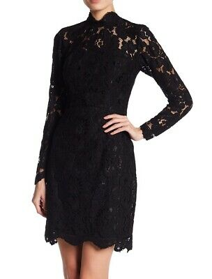 Betsey Johnson NEW Black Womens 6 Floral Lace Mock Neck Sheath Dress $148 325