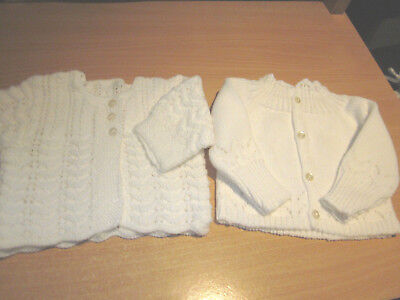 Girl's Hand Knitted Baby Matinee Jacket & Cardi Size 000  New Without Tags