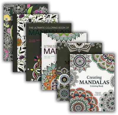 Adult Coloring Book Mandala Geometrical Stress Relief Relaxation Color Lot of 6