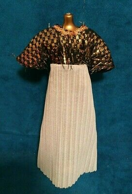 Petite Fashions Black, Gold & Blue Gown HTF Vintage Outfit Only No Doll Included