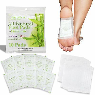 10 pk Detox Foot Pads Premium 100% Organic All Natural Lavender Rose Infused