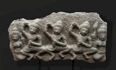 A-Khmer Sandstone Relief Lintel Fragment 'asuras', Angkor 'bayon' Style Stone