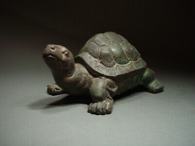 A KHMER BRONZE LAND TORTOISE, ANGKORIAN ART. TEMPLE RELIC 19/20th C.