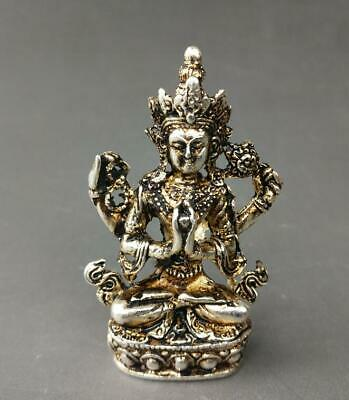 chinese old Tibet silver hand-carved Guanyin Buddha statue a01