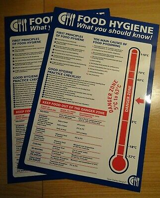 Pack of 2 food hygiene poster. what you should know temperature Stickers