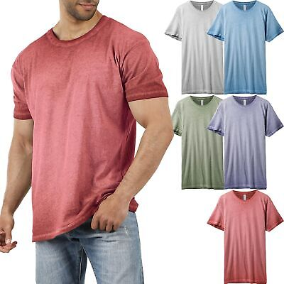 Mens Basic Short Sleeve T Shirts Oil Wash Vintage Soft Faded Crew Neck Tee
