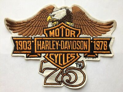 "10 1/2"" VINTAGE HARLEY DAVIDSON 75th Anniversary Cloth Patch 1978 1977 HOG Eagle"