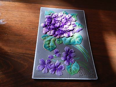 "Vintage.1909. Embossed Card of Violets. Posted 10/05/1909 .  .""L@@@K""."