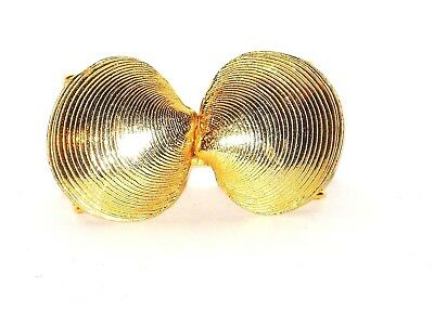 Vintage Mimi Di N 1975 Gold Tone Metal Sea Shell Belt Buckle Signed