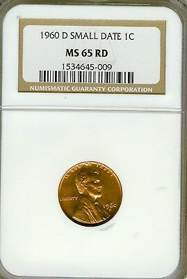 1960-D Small Date SD  Lincoln cent NGC MS65RD nice red coin FREE SHIP  # 009