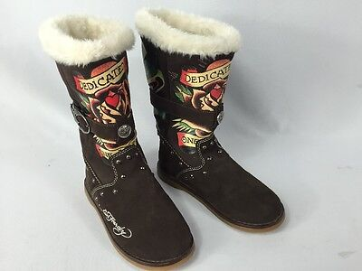 a251680573e ED HARDY WOMENS Fur Lined Brown Suede Boots Size 5