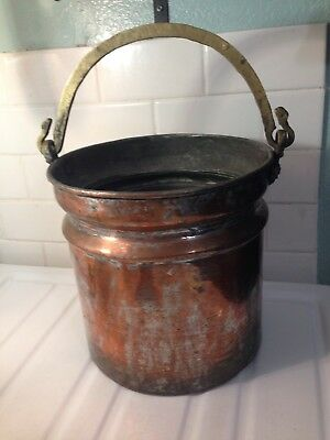 Handmade Antique Turkish Copper Cauldron Boiler Planter w/ Brass Hanging Handle