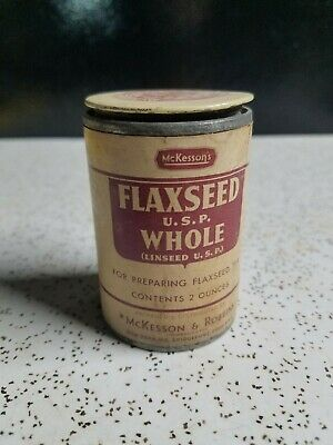 Vintage McKesson's Flaxseed WHOLE  2 oz Paper Bottle Jar Label Intact