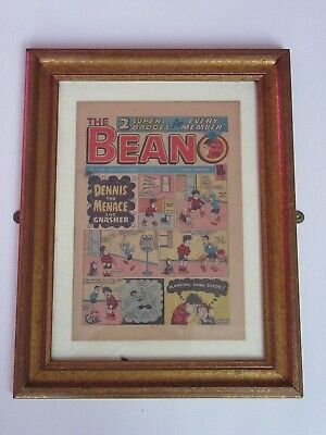 VINTAGE BEANO COMIC PICTURE WOODEN FRAMED  Made For The Famous School Dinners