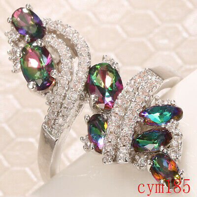 Fashion Women Multi-Color Gemstone Topaz Wedding Engagement Gifts Ring Jewelry