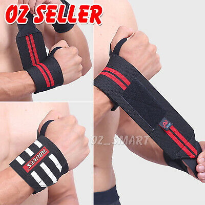 Weight Lifting Gym Training Wrist Support Straps Wraps Muscle Bodybuilding AU