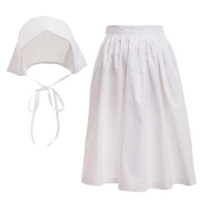 2a3b3665a0a Girls White Cotton Apron And Bonnet Pilgrim Pioneer Colonial Costume  Accessories