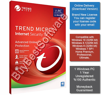 Trend Micro Internet Security V.10 | 1 PC | 1 Year | Brand New | Online Delivery
