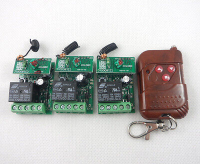 3x 1 channel relay module + 1 remote controller wireless control modules set