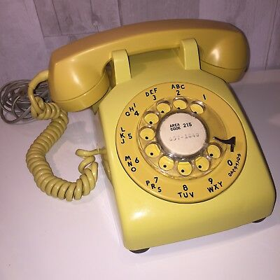 1960's Vintage Yellow Rotary Dial Desk Phone Western Electric Bell System 500