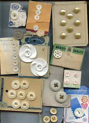 Vintage Sewing Button Lot White and Cream/Ivory Color On Card BU127