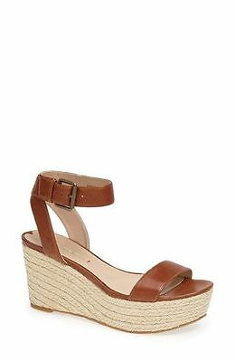 186788cf4e0 NEW VIA Spiga Larissa lLeather Wedge Sandal Color TOBACCO SIZE 9.5 ...