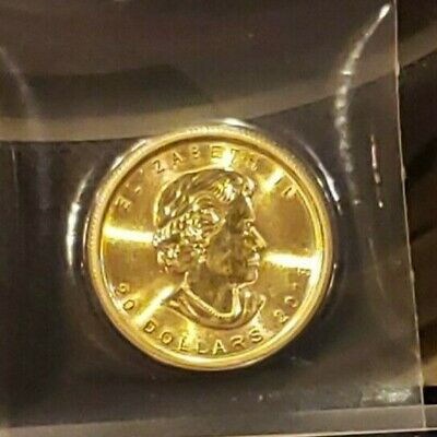 2018 Canadian $20. Gold Maple Leaf - 1/2 oz. .9999 Fine Gold B-U, Factory Sealed