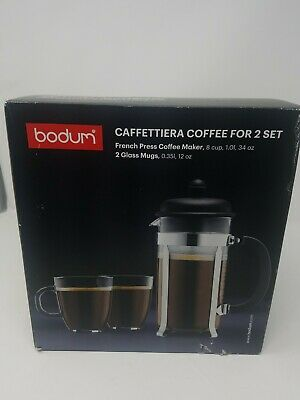 Bodum Glass & Stainless Steel 34oz French Press Coffee Maker pot w/ 2 glass mugs