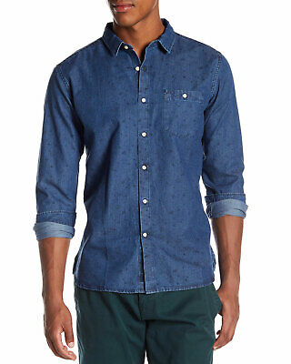 Knowledge Cotton Apparel Mens Patterned Chambray Button Down Shirt Small S Denim