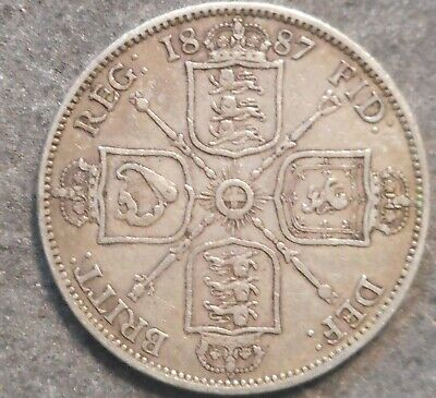 Great Britain 1887 Victoria Jubile Head  Florin  / Two Shilling Silver Coin Nice