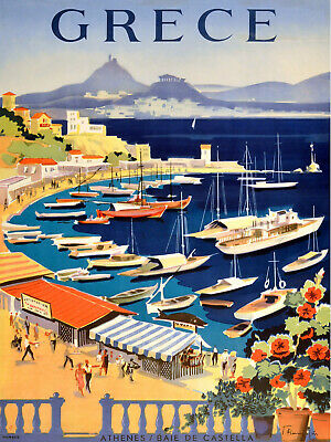 Vintage painting art deco grece greece travel advert poster canvas framed