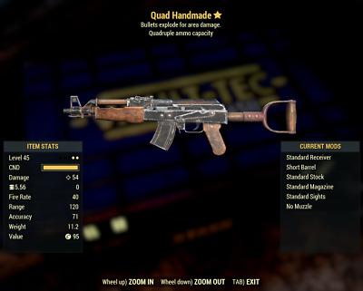 [PC] Fallout 76 : Handmade Rifle - Quad Ammo+Explosive (Weapons)