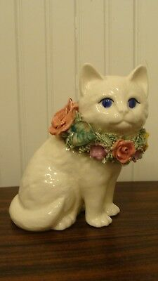 Beautiful Ceramic/Porcelain Cat Hand Crafted Figurine By Duck Duck Goose, Mexico