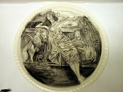 Hand Made Hand Painted 13in Lady & Lion Decorative Plate Artist Signed.