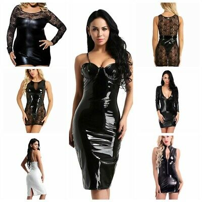 Women's Sexy Leather Bodycon Short Dress Club Wear Cocktail Dress Wet Look Party