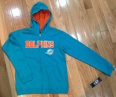 NFL FOOTBALL MIAMI Dolphins Zip Up Hoodie Sweatshirt Youth XL (1820  free shipping