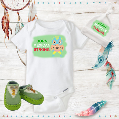 614966bda81 Mexican Strong Funny Baby Boy Name Outfit Shoes Baby Shower Gift Set Newborn