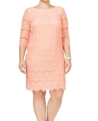 7f93752c4a2d Jessica Howard NEW Pink Womens Size 16W Plus Floral-Lace Sheath Dress $99  348