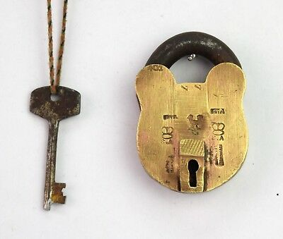 Antique Brass Decorative Indian safety Padlock with 1 Key Collectible. G2-302 AU