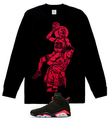 Long Sleeve MJ Posterized vi shirt for air Jordan 6 Retro Black Infrared Tu