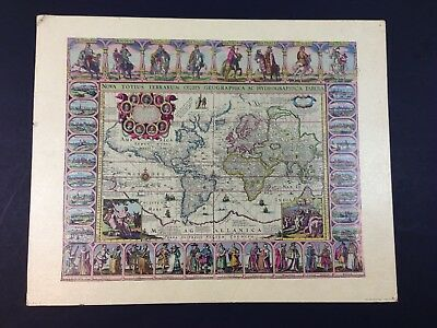 Vintage 1960's Donald Art Co. NY Old World Map Litho Lithograph Print  20x16 60s