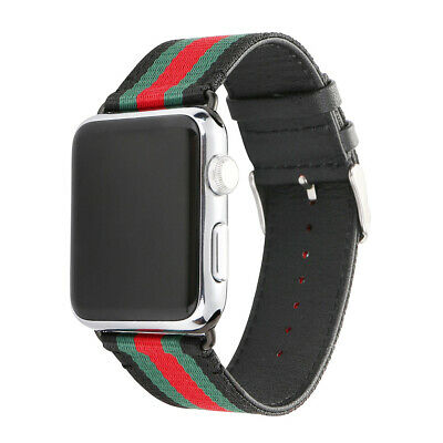 for Apple Watch 4 Band Gucci Stripe Pattern Sport Replacement Leather Strap 44mm