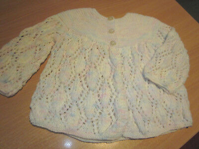 GIRL'S HAND KNITTED BABY JACKET  SIZE 000 NEWBORN to 3 MONTHS NWOT