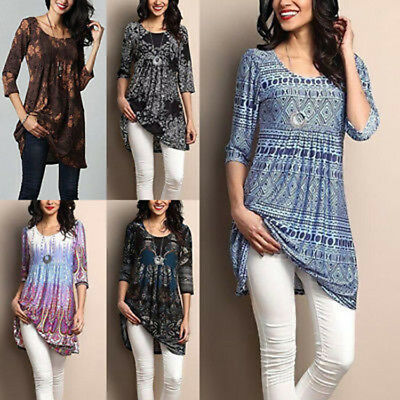 AU Womens Ladies Loose Long Sleeve Cotton Casual Shirt Tunic Tops Fashion Blouse