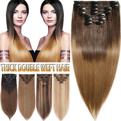 Double Weft Thick Clip In Full Head Remy Real Human Hair Extensions Ombre UK G44