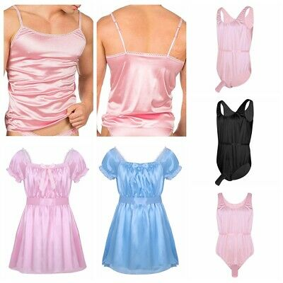 Men's Sissy Underwear Short Sleeve Lingerie Dress Vest Tops Nightwear Sleepwear
